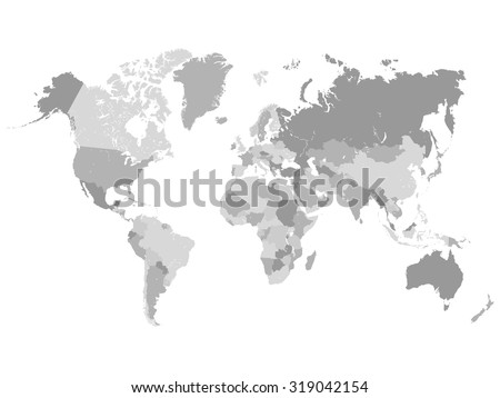 Grayscale World Map Illustration - stock vector