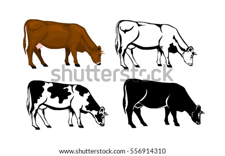 Cow Brown Color Silhouette Contour Patched Stock Vector 556914328 Cow Color
