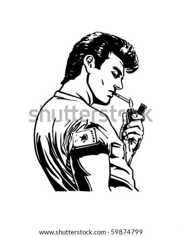 Greaser Lighting Cigarette - Retro Clip Art - stock vector