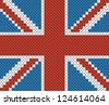 Great Britain flag background made with embroidery cross-stitch. - stock vector
