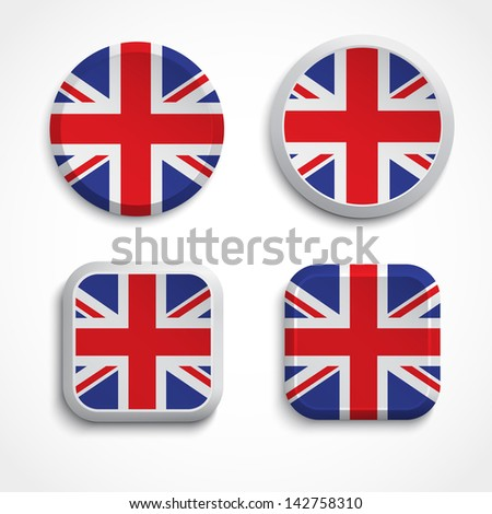 Great Britain flag buttons, vector illustration - stock vector