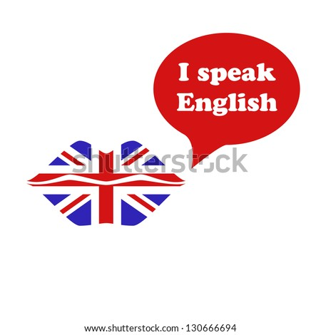 Great Britain flag lipstick on the lips. I speak English - stock vector