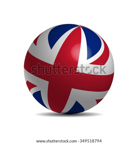 Great Britain flag on a 3d ball vector illustration - stock vector