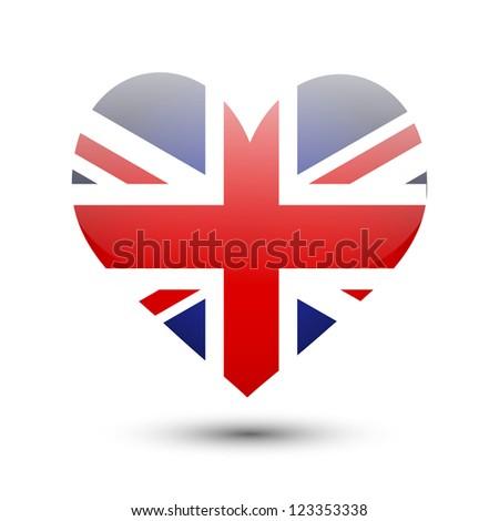 Great Britain flag on heart shape - stock vector
