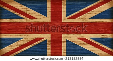 Great britain flag on old wooden boards background. - stock vector