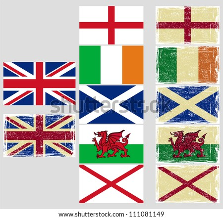 great britain flags grunge effect can stock vector royalty free