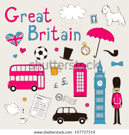 Great Britain - landmarks and symbols set - stock vector