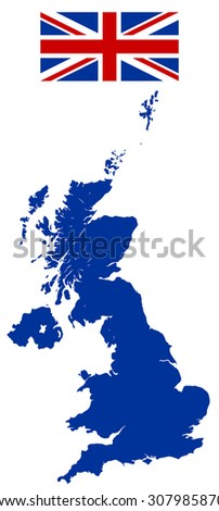 Great Britain map and Flag - stock vector