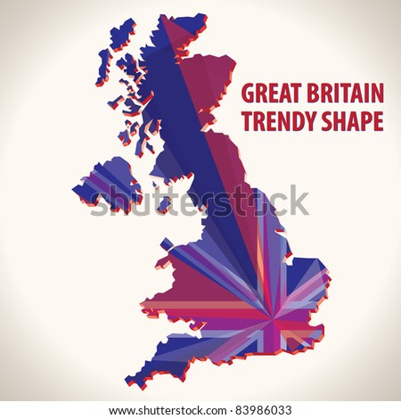 Great Britain trendy shape - stock vector