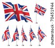 Great Britain vector flags. A set of flags with metal stand, and one wavy flag fluttering on the wind. Created using gradient meshes. - stock photo