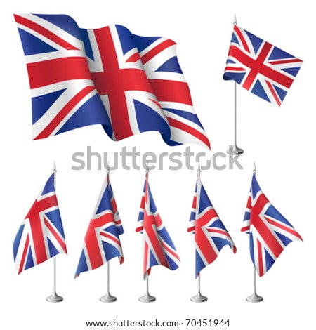 Great Britain vector flags. A set of flags with metal stand, and one wavy flag fluttering on the wind. Created using gradient meshes. - stock vector