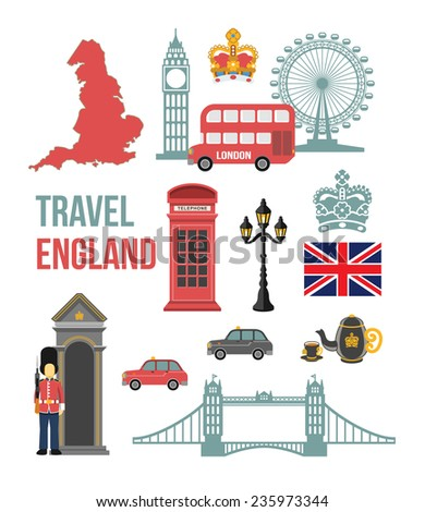 Great Britain vector flat icon set - stock vector