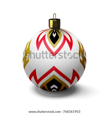 Great Christmas ball on white background. Volume subject.