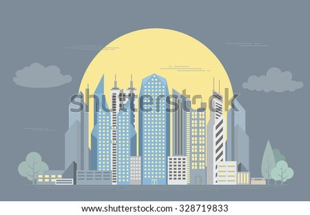 Great city map creator. Colour version. House constructor. House, cafe, restaurant, shop, infrastructure, industrial, transport, village and countryside. Make your perfect city. Vector illustration