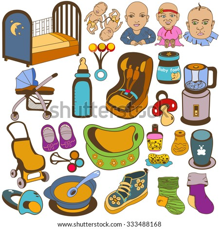 Great collection of different baby icons, vector illustrations - stock vector