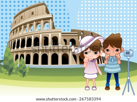 Great Colosseum and Happy Couple - lovely young girl and cute man stand with digital camera, tripod and take a selfie photo on bright blue background with white dot patterns : vector illustration - stock vector