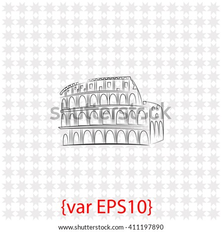 Great Colosseum icon. Great Colosseum vector. Simple icon isolated on gray background. - stock vector