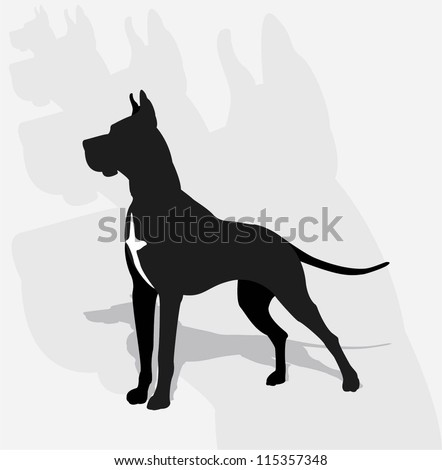 Great Dane- silhouette - stock vector
