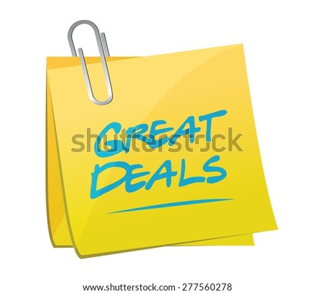 great deals memo post sign concept illustration design over a white background - stock vector