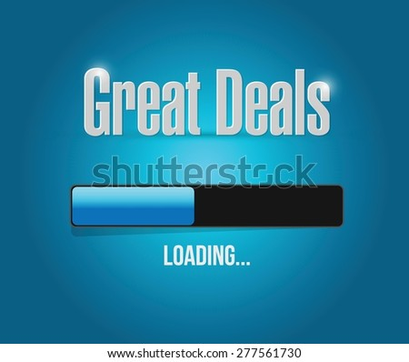 great deals search bar sign concept illustration design over a blue background - stock vector