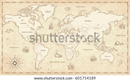 Great detail illustration world map vintage vectores en stock great detail illustration of the world map in vintage style with all countries boundaries and names gumiabroncs Images
