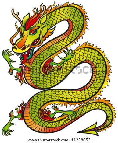 Great Dragon color - stock vector