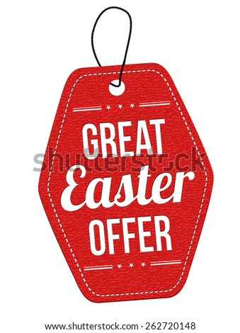 Great Easter offer leather label or price tag on white background, vector illustration - stock vector