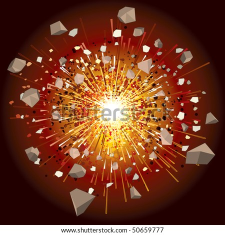 great explosion - vector illustration (only simply gradients) - stock vector
