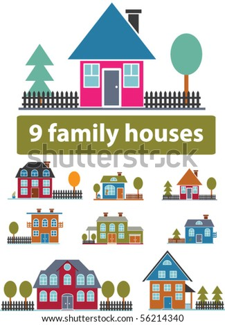 great family houses. vector