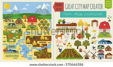 Great farm map element creator village stock vector for House map creator