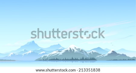 Great Himalayan snow peaks and cold water lake - stock vector
