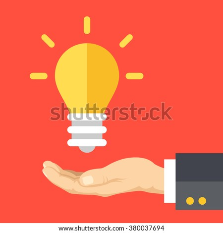 Great idea, business solution, innovative technology. Human hand and lightbulb. Modern flat design concept for web banners, web sites, printed materials, infographics. Creative vector illustration - stock vector