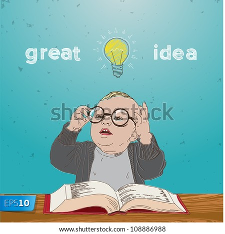 Great idea, kid with bulb above his head, vector Eps10 illustration. - stock vector