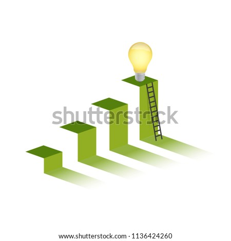great ideas in top of a mountain peak. business graph concept. illustration design graphic over white background