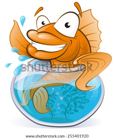 Great illustration of a Cute Cartoon Goldfish waving from the comfort of his Goldfish Bowl. - stock vector