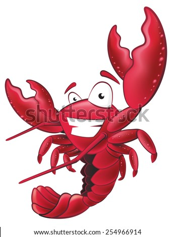 Great illustration of a happy lobster waving his pincers in the air.
