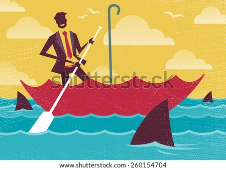 Great illustration of Retro styled Businessman carefully navigating Shark infested waters using his umbrella for added protection. - stock vector