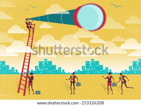 Great illustration of Retro styled Businessman climbing above the clouds to get a better view of the landscape than his competitors. - stock vector