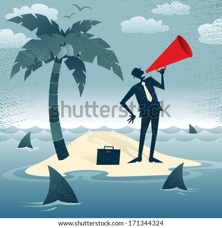 Great illustration of Retro styled Businessman desperately trying to make himself heard with his huge megaphone as he has found himself stranded on a remote desert island!.  - stock vector