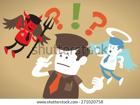 Great illustration of Retro styled Corporate Guy caught up in a Catch-22 battle of wills with both a devil and an angel helping him to decide. - stock vector