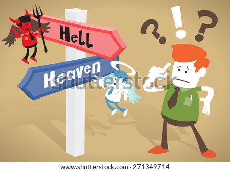 Great illustration of Retro styled Corporate Guy caught up in a Catch-22 battle of wills with both a devil and an angel helping him to decide at Heaven and Hell Signpost.