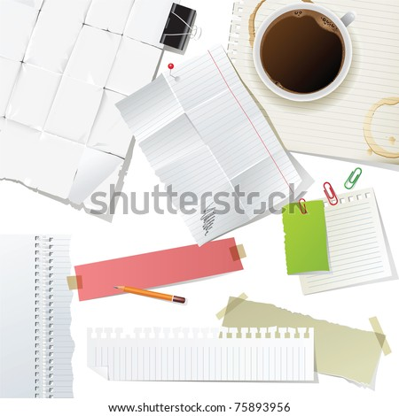 great office supplies and paper set - stock vector