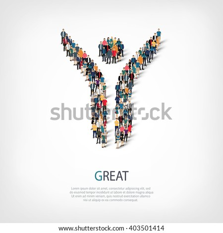 great people crowd - stock vector