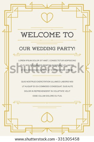 Great Quality Style Invitation in Art Deco or Nouveau Epoch 1920's Gangster Era Vector - stock vector