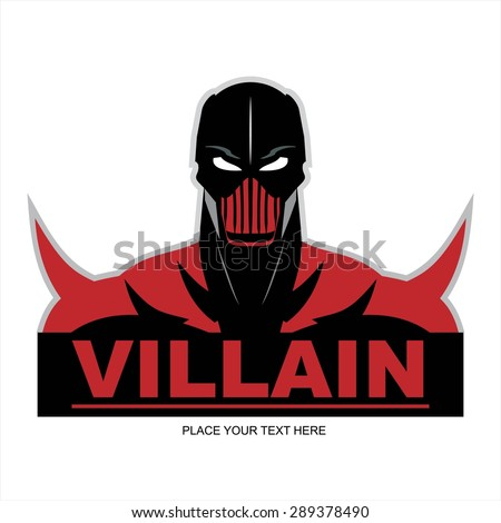 Great Red Villain in flat color, isolated on white. - stock vector