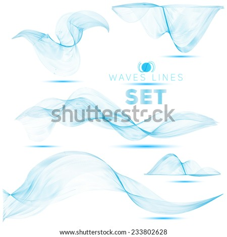 great set beautifull blend blue waves abstract background for design - stock vector