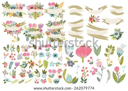 Great set of flowers and labels. - stock vector