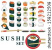 Great set of various different types of sushi isolated on white background - stock photo