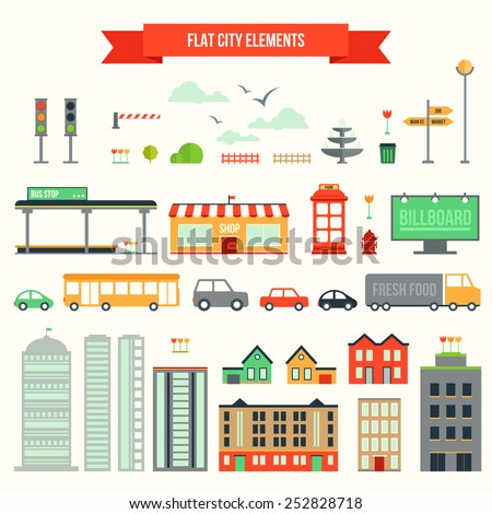 Great set with city elements for creating your own map. Map elements for your pattern, infographic, web site or other type of design.  - stock vector