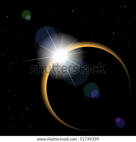 Great Solar eclipse, diamond ring phase - stock vector